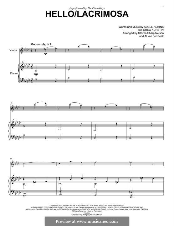 Hello/Lacrimosa (The Piano Guys): Für Violine und Klavier by Adele, Greg Kurstin
