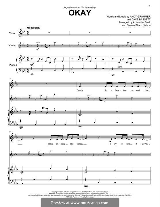 Okay (The Piano Guys): Für Violine und Klavier by Dave Bassett, Andy Grammer