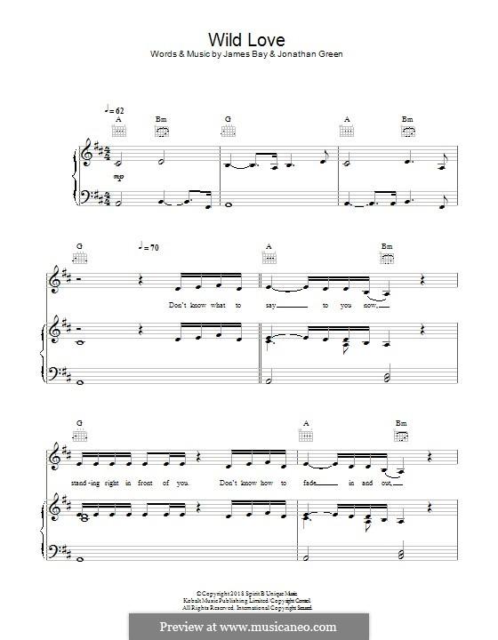 Wild Love: Für Stimme und Klavier (oder Gitarre) by James Bay, Jonathan Green