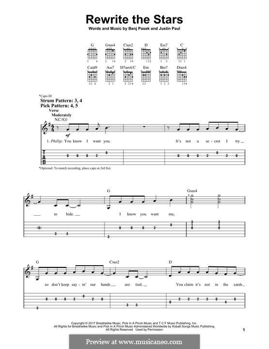 Rewrite the Stars (from The Greatest Showman): Für Gitarre mit Tabulatur by Justin Paul, Benj Pasek