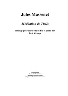 Meditation: For Bb clarinet and piano by Jules Massenet