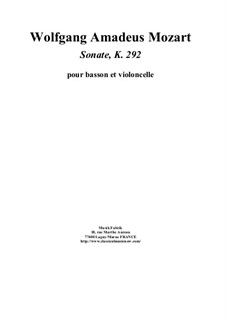 Sonate für Fagott und Cello in B-Dur, K.292: Score, parts by Wolfgang Amadeus Mozart