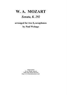 Sonate für Fagott und Cello in B-Dur, K.292: Version for two Eb saxophones by Wolfgang Amadeus Mozart
