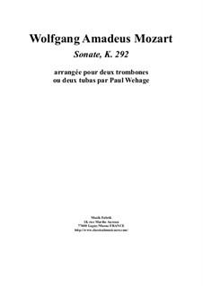 Sonate für Fagott und Cello in B-Dur, K.292: Version for two trombones by Wolfgang Amadeus Mozart