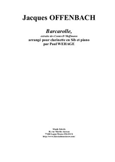 Barkarole: Version for Bb clarinet and piano by Jacques Offenbach
