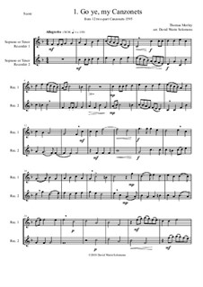 12 easy Canzonets: For soprano and or tenor recorder duo by Thomas Morley