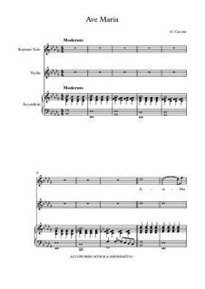 Ave Maria: For voice, violin and accordion by Giulio Caccini