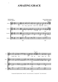 Erstaunliche Gnade: For solo and ATB choir by folklore