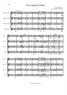 The long day closes: For clarinet quartet by Arthur Sullivan