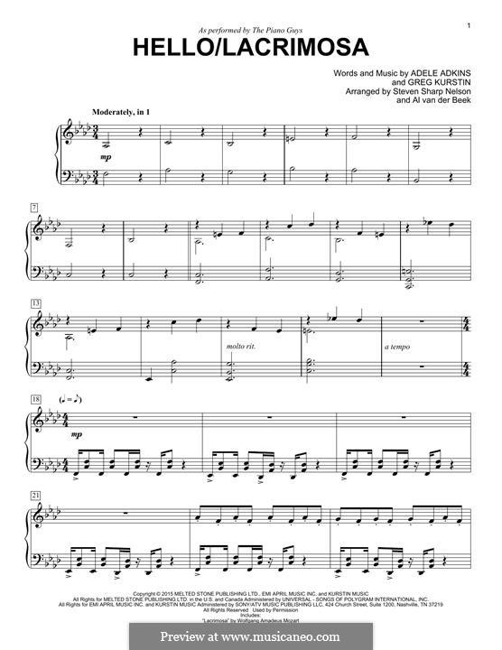 Hello/Lacrimosa (The Piano Guys): Für Klavier by Adele, Greg Kurstin