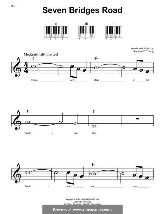 Seven Bridges Road (The Eagles): Für Klavier by Stephen T. Young