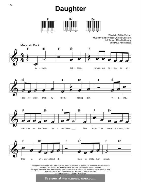 Daughter (Pearl Jam): Für Klavier by David Abbruzzese, Eddie Vedder, Jeff Ament, Mike McCready, Stone Gossard
