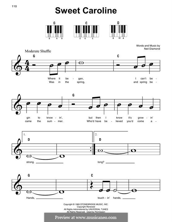 Sweet Caroline: Für Klavier by Neil Diamond