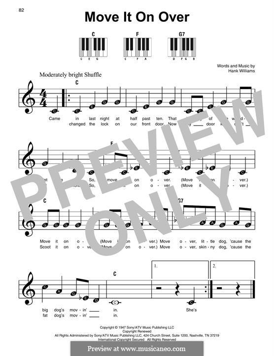 Move It on Over: Für Klavier by Hank Williams