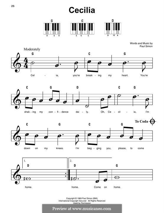 Cecilia (Simon & Garfunkel): Für Klavier by Paul Simon