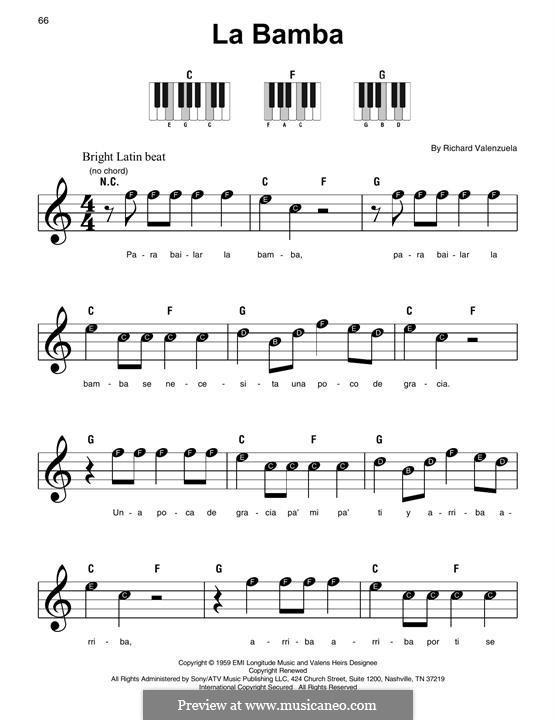 La Bamba: Für Klavier by folklore, Ritchie Valens