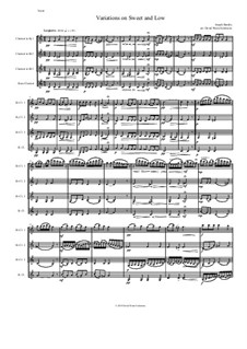Sweet and Low: Variations, for clarinet quartet by Joseph Barnby