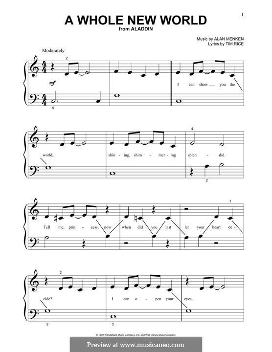 A Whole New World, for Piano (from Aladdin): Für einen Interpreten by Alan Menken