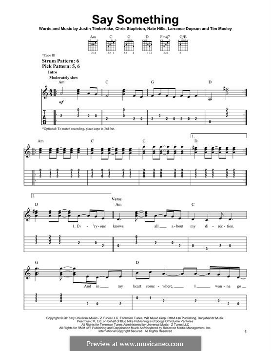 Say Something (feat. Chris Stapleton): Für Gitarre mit Tabulatur by Chris Stapleton, Justin Timberlake, Floyd Nathaniel Hills, Timbaland, Larrance Dopson