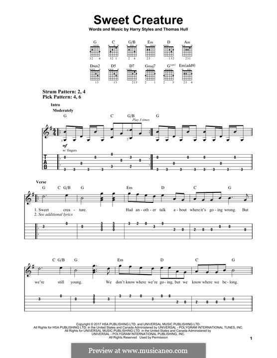 Sweet Creature: Für Gitarre mit Tabulatur by Tom Hull, Harry Styles