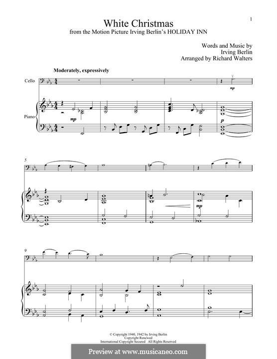 White Christmas. Instrumental version: Für Cello und Klavier by Irving Berlin
