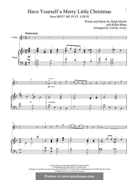Have Yourself a Merry Little Christmas: For violin and piano by Hugh Martin, Ralph Blane