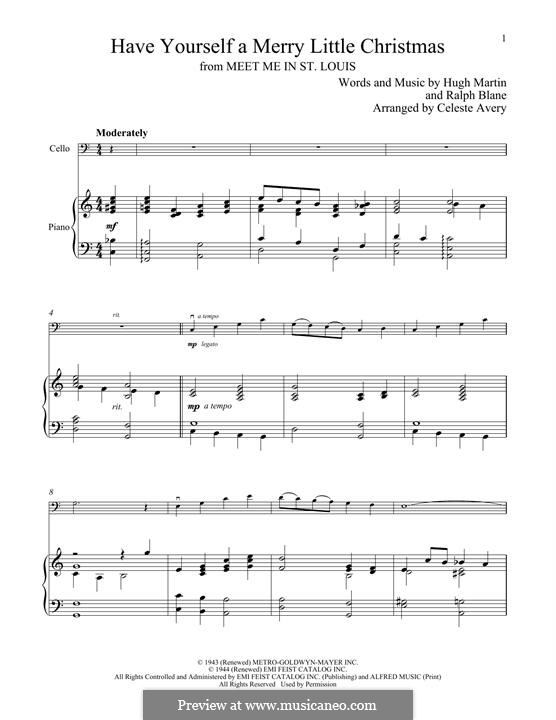 Have Yourself a Merry Little Christmas: For cello and piano by Hugh Martin, Ralph Blane