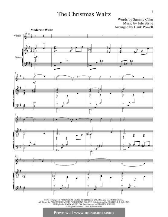 The Christmas Waltz: Für Violine und Klavier by Jule Styne