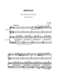 Suite II: Minuet, for piano four hands by Georges Bizet