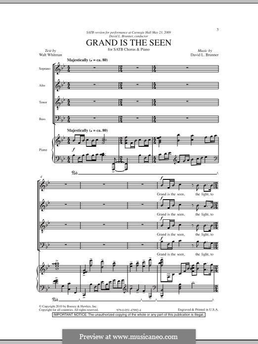 Grand is the Seen: Für gemischten Chor by David L. Brunner
