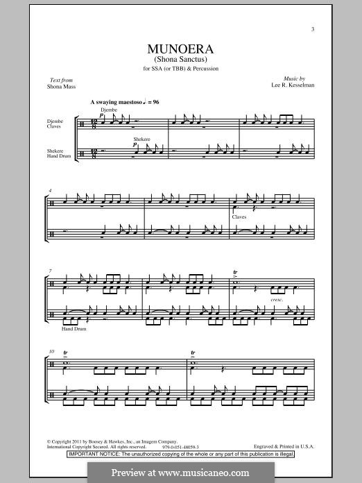 Munoera (Sanctus from The Shona Mass): SSA by Lee R. Kesselman