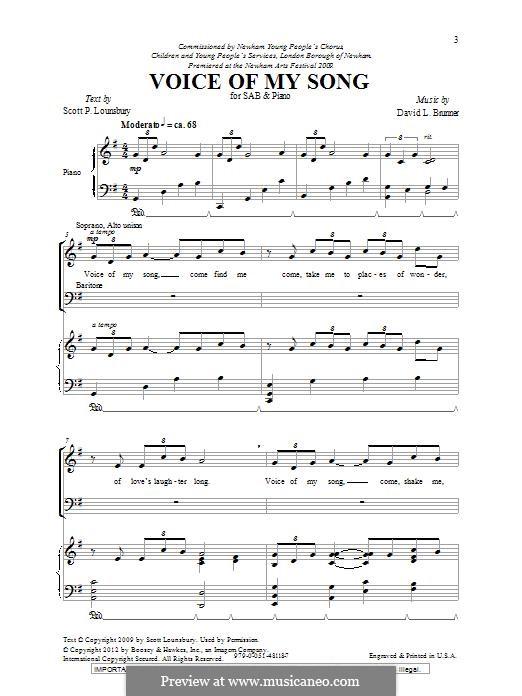 Voice of My Song: Für gemischten Chor by David L. Brunner