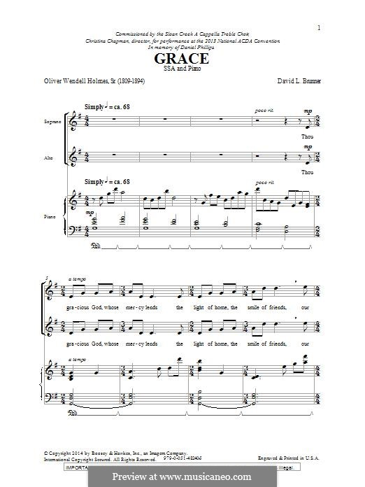 Grace: SSA by David L. Brunner