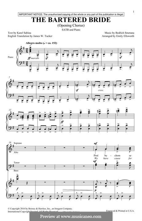 Chor der Landleute: Für gemischten Chor by Bedřich Smetana