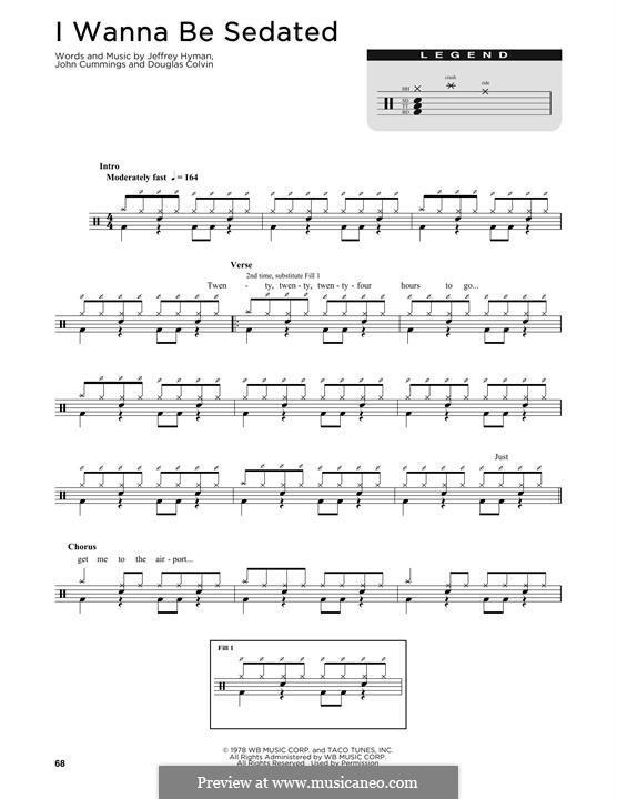 I Wanna Be Sedated (Ramones): Drum set by Dee Dee Ramone, Jeffrey Hyman, John Cummings