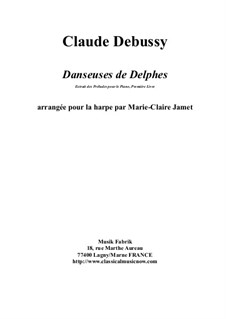 Nr.1 Tänzerinnen Delphis: For harp by Marie-Claire Jamet by Claude Debussy