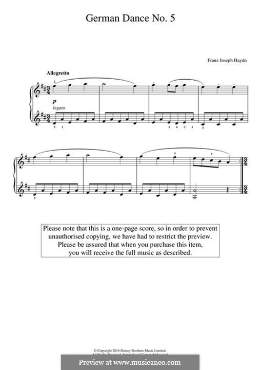 German Dance No.5: Für Klavier by Joseph Haydn