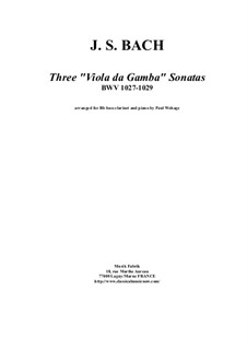 Drei Sonaten für Viola da gamba und Cembalo, BWV 1027-1029: Arrangement for bass clarinet and piano by Johann Sebastian Bach