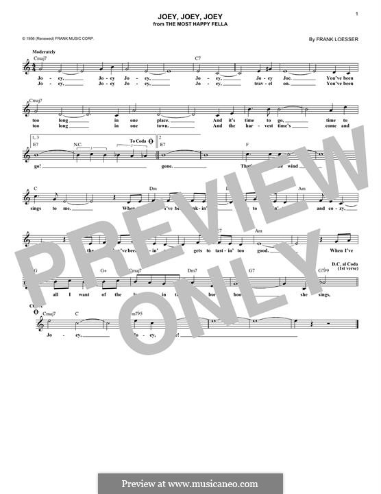 Joey, Joey, Joey: Melodische Linie by Frank Loesser