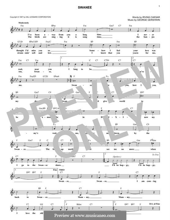Swanee: Melodische Linie by George Gershwin