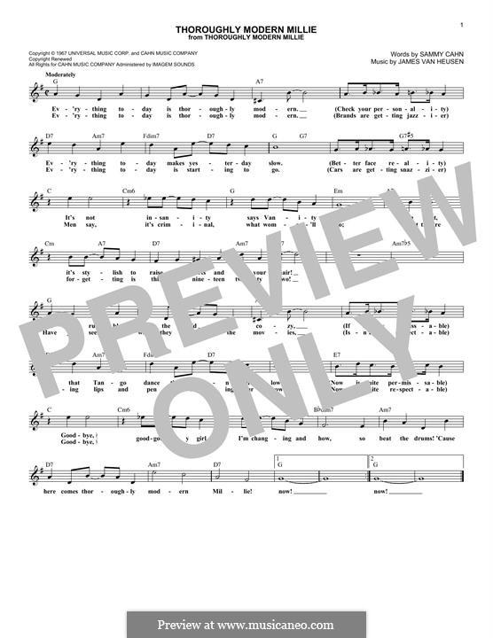 Thoroughly Modern Millie: Melodische Linie by Jimmy Van Heusen