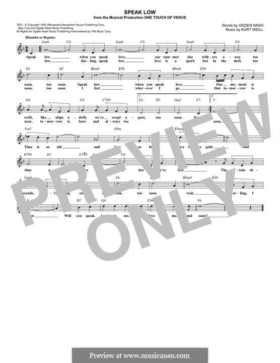 Speak Low: Melodische Linie by Kurt Weill