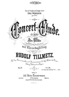 Koncert-Etüde für Flöte und Klavier, Op.22: Koncert-Etüde für Flöte und Klavier by Rudolf Tillmetz