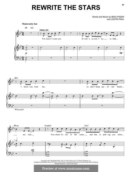 Rewrite the Stars (from The Greatest Showman): Für Stimme und Klavier by Justin Paul, Benj Pasek
