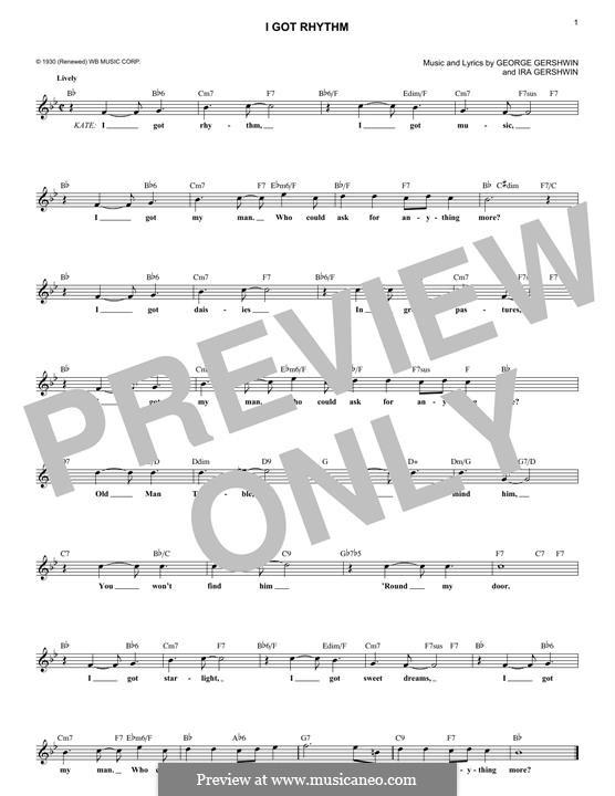 I Got Rhythm: Melodische Linie by George Gershwin