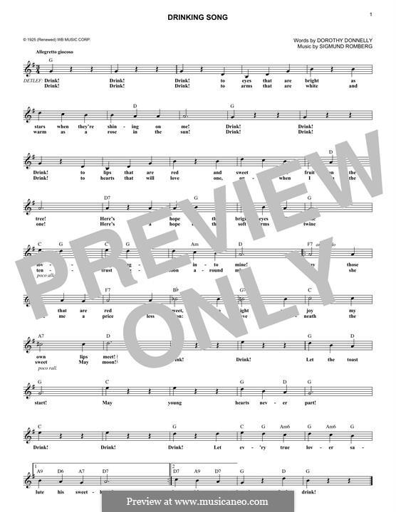Drinking Song: Melodische Linie by Sigmund Romberg