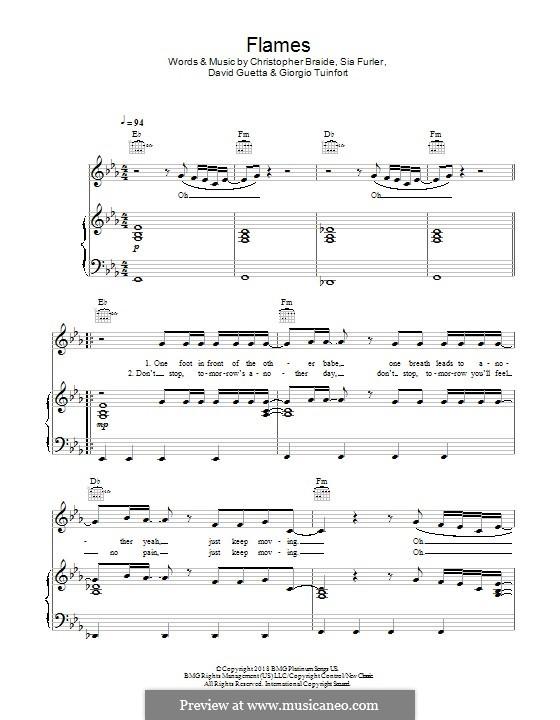 Flames: Für Stimme und Klavier (oder Gitarre) by Chris Braide, David Guetta, Giorgio Tuinfort, Sia Furler