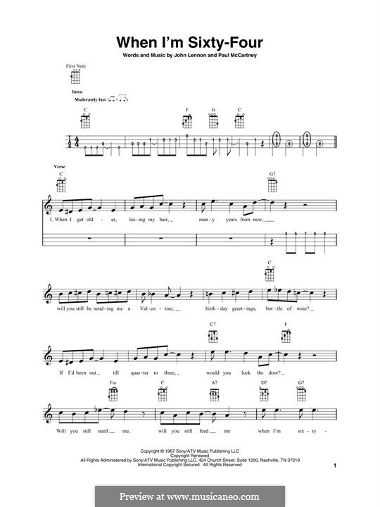 When I'm Sixty-Four (The Beatles), for One Instrument: Für Ukulele by John Lennon, Paul McCartney