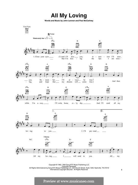 All My Loving (The Beatles): Für Ukulele by John Lennon, Paul McCartney