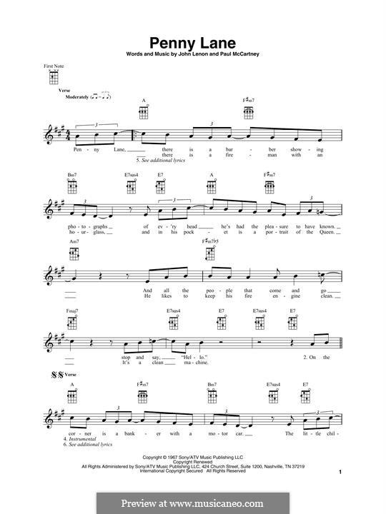 Penny Lane (The Beatles): Für Ukulele by John Lennon, Paul McCartney
